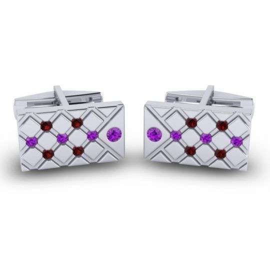 Amethyst Chada Cufflinks with Garnet in 14k White Gold