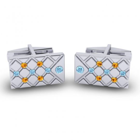 Aquamarine Chada Cufflinks with Citrine in 14k White Gold