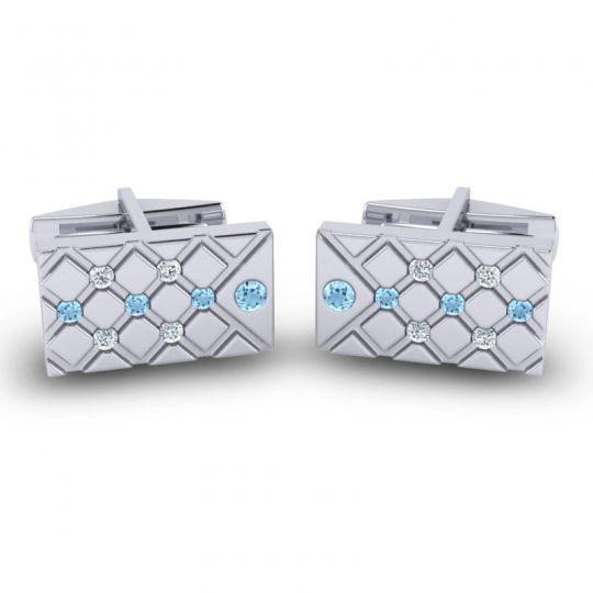 Aquamarine Chada Cufflinks with Diamond in 14k White Gold