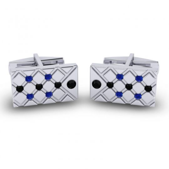 Black Onyx Chada Cufflinks with Blue Sapphire in 14k White Gold