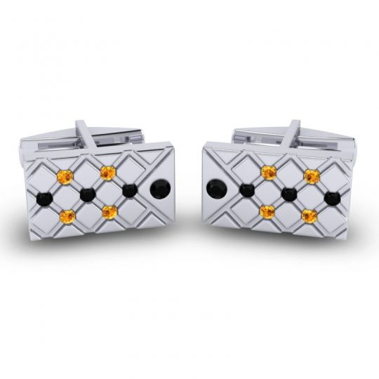 Black Onyx Chada Cufflinks with Citrine in 14k White Gold