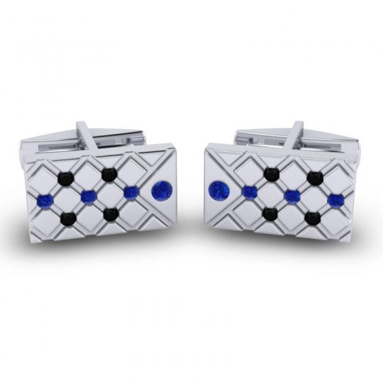 Blue Sapphire Chada Cufflinks with Black Onyx in 14k White Gold