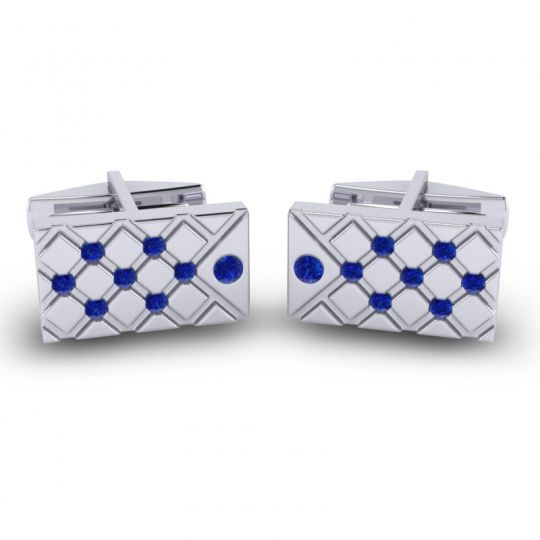 Blue Sapphire Chada Cufflinks in 14k White Gold