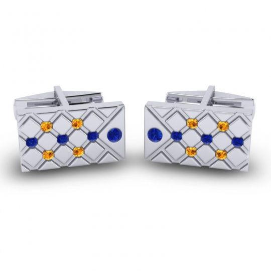 Blue Sapphire Chada Cufflinks with Citrine in 14k White Gold
