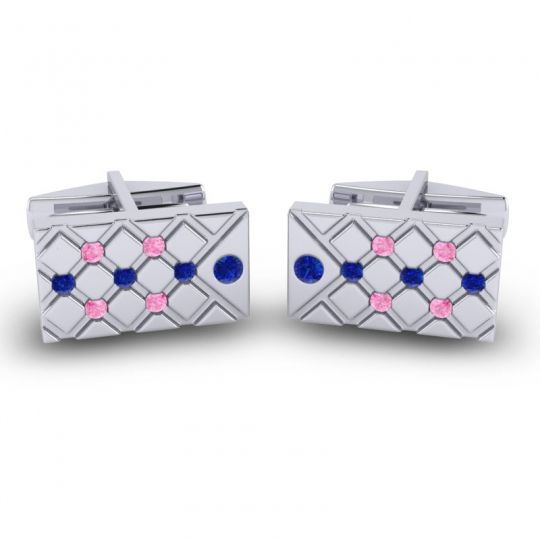 Blue Sapphire Chada Cufflinks with Pink Tourmaline in 14k White Gold