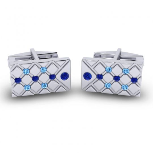 Blue Sapphire Chada Cufflinks with Swiss Blue Topaz in 14k White Gold