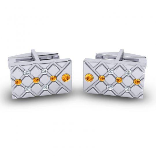 Citrine Chada Cufflinks with Diamond in 14k White Gold