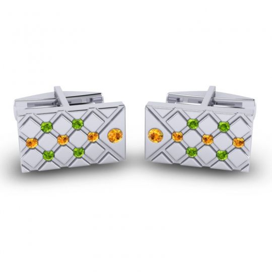 Citrine Chada Cufflinks with Peridot in 14k White Gold