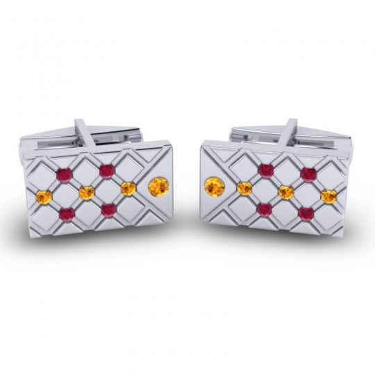 Citrine Chada Cufflinks with Ruby in 14k White Gold