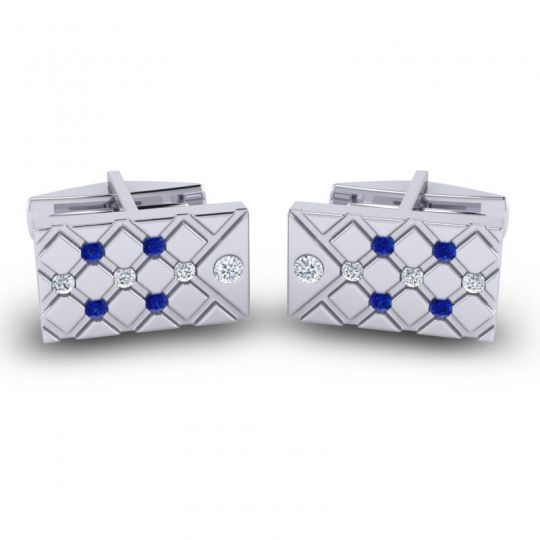 Diamond Chada Cufflinks with Blue Sapphire in 14k White Gold