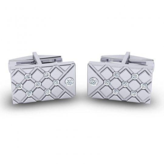 Diamond Chada Cufflinks in 14k White Gold