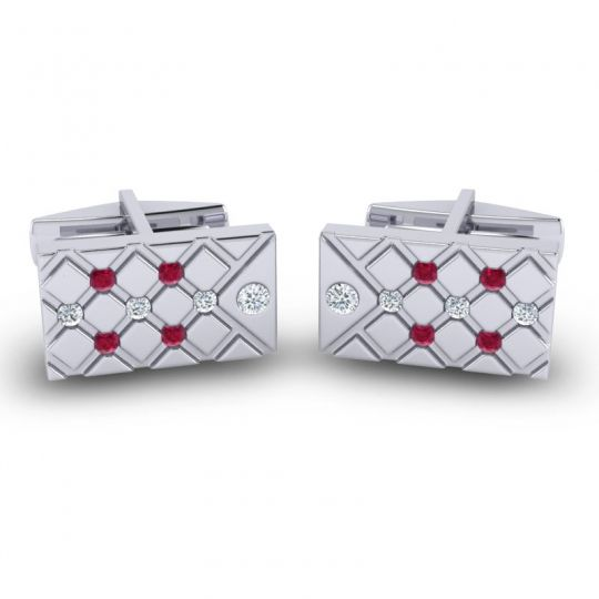Diamond Chada Cufflinks with Ruby in 14k White Gold