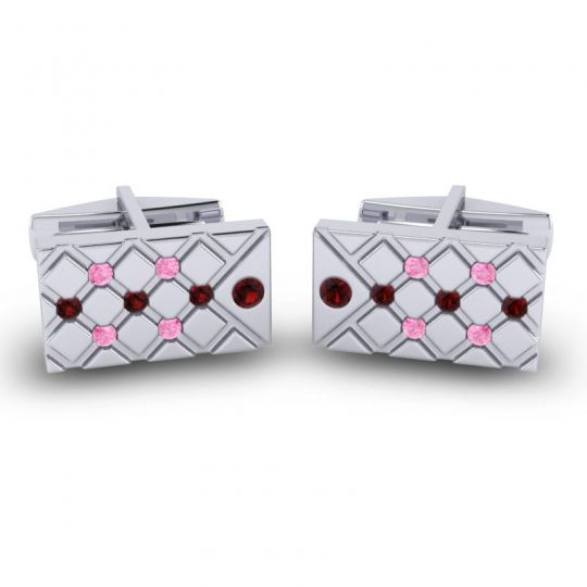 Garnet Chada Cufflinks with Pink Tourmaline in 14k White Gold