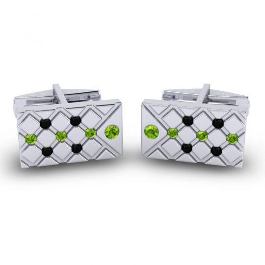 Peridot Chada Cufflinks with Black Onyx in 14k White Gold