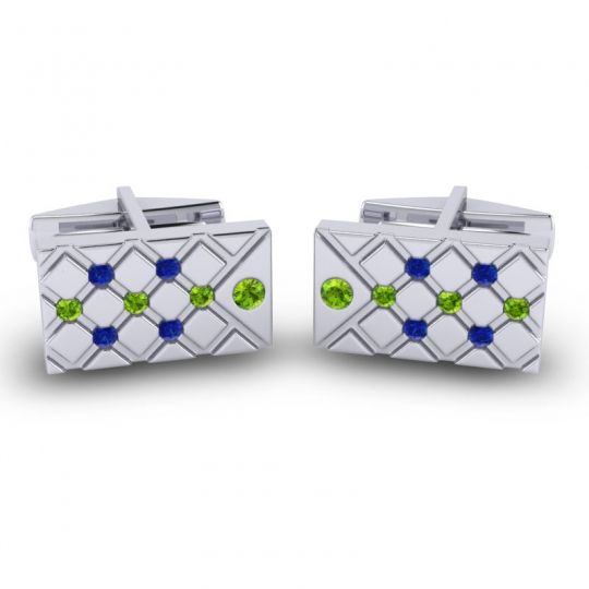 Peridot Chada Cufflinks with Blue Sapphire in 14k White Gold