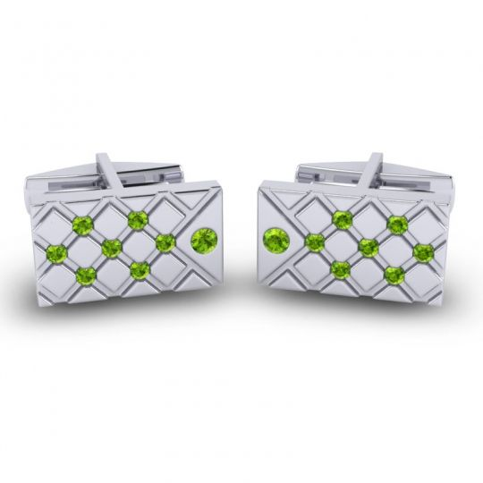Peridot Chada Cufflinks in 14k White Gold