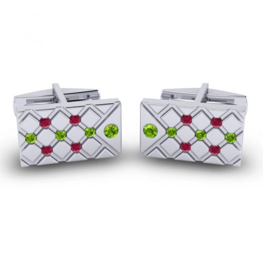 Peridot Chada Cufflinks with Ruby in 14k White Gold