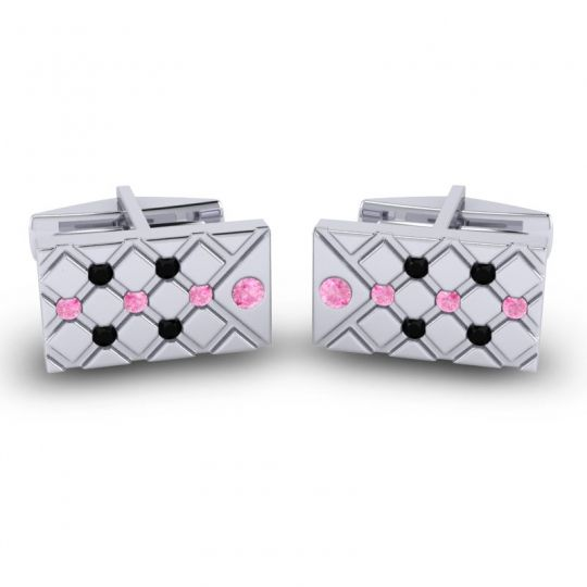 Pink Tourmaline Chada Cufflinks with Black Onyx in 14k White Gold