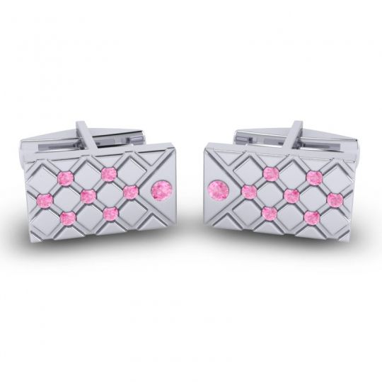 Pink Tourmaline Chada Cufflinks in 14k White Gold