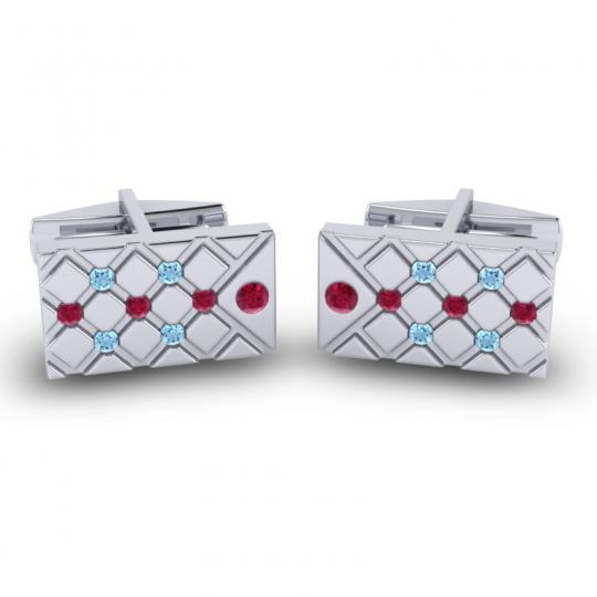 Ruby Chada Cufflinks with Aquamarine in 14k White Gold