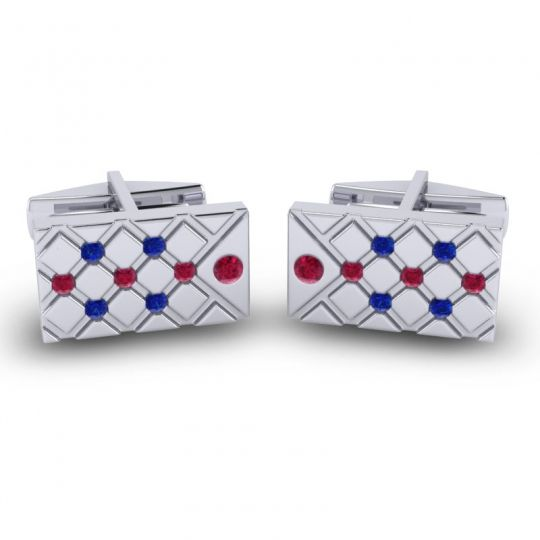 Ruby Chada Cufflinks with Blue Sapphire in 14k White Gold