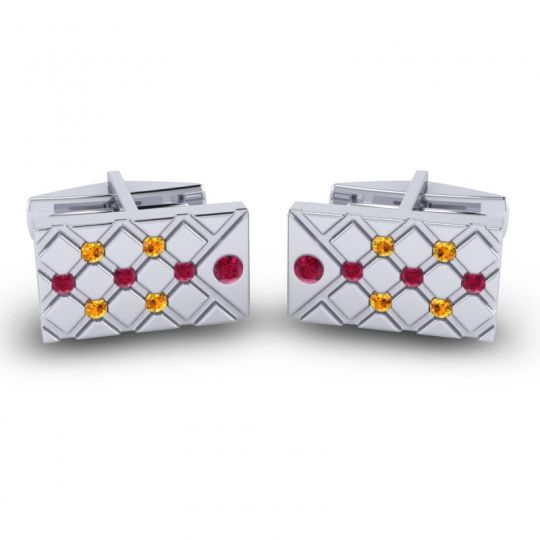 Ruby Chada Cufflinks with Citrine in 14k White Gold