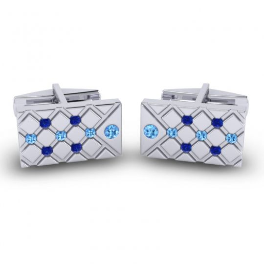 Swiss Blue Topaz Chada Cufflinks with Blue Sapphire in 14k White Gold