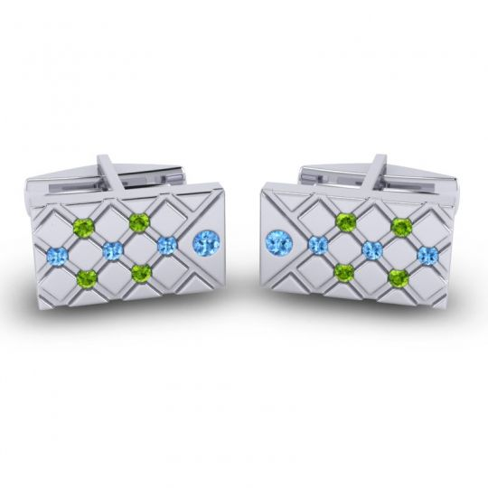 Swiss Blue Topaz Chada Cufflinks with Peridot in 14k White Gold