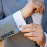 Citrine Chada Cufflinks with Black Onyx in 14k White Gold