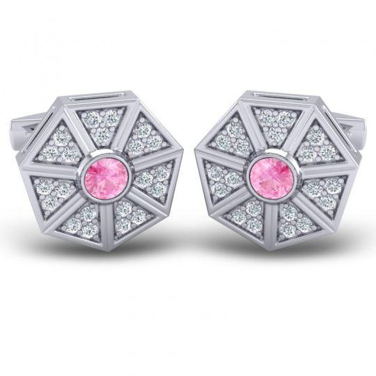 Pink Tourmaline Suparvan Cufflinks with Diamond in 14k White Gold