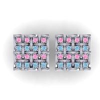 Pink Tourmaline Abhoga Cufflinks with Aquamarine in 14k White Gold