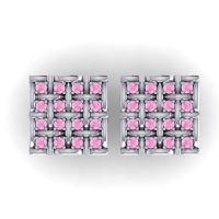 Pink Tourmaline Abhoga Cufflinks in 14k White Gold