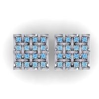 Swiss Blue Topaz Abhoga Cufflinks with Aquamarine in 14k White Gold