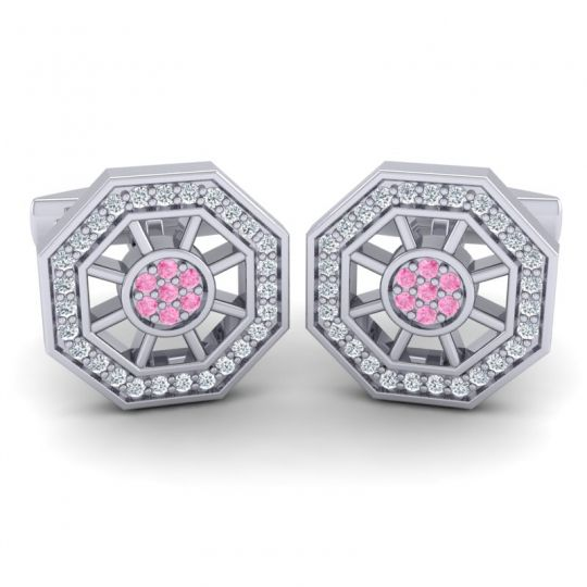 Pink Tourmaline Zapha Cufflinks with Diamond in 14k White Gold