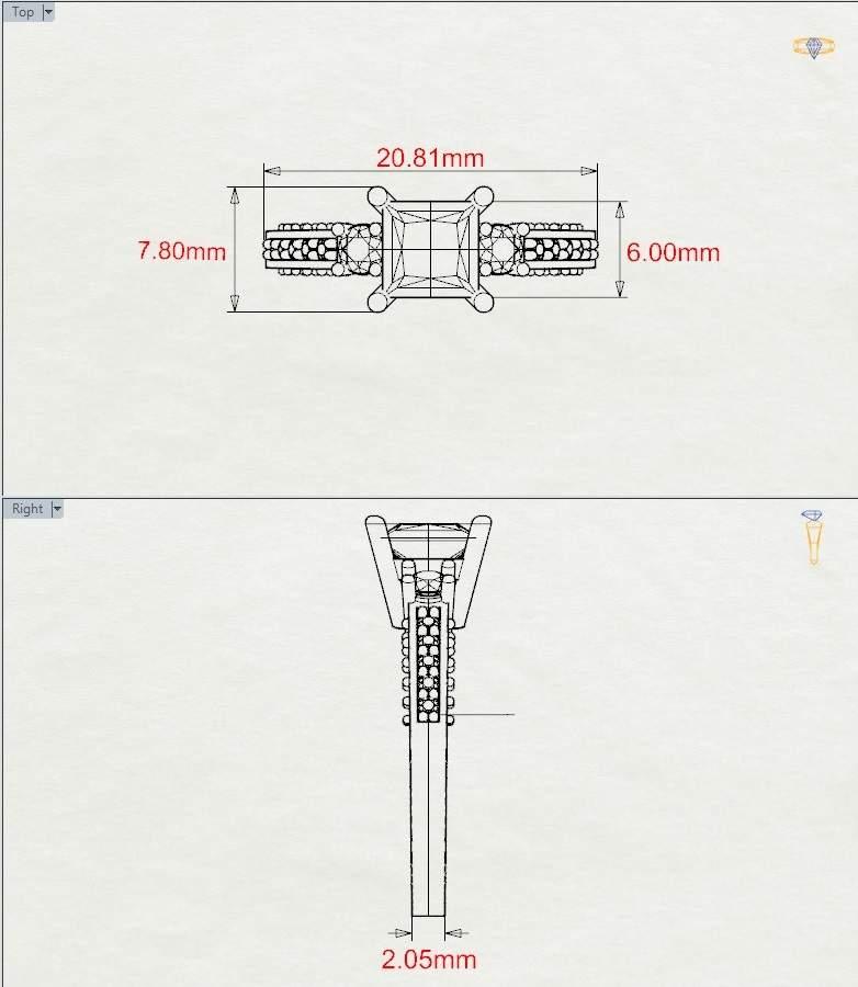 Art Deco Three Stone Stambha Citrine Ring with Diamond in Platinum